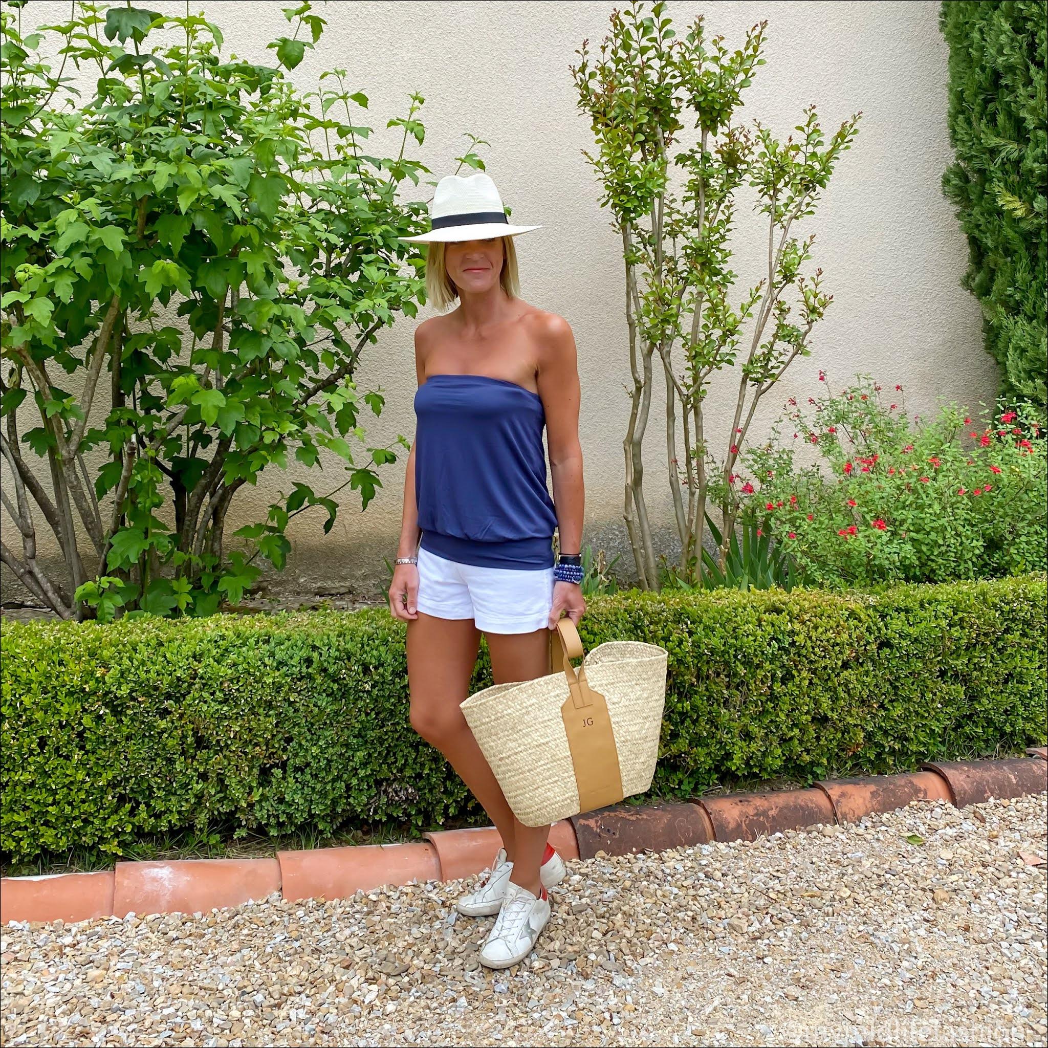 my midlife fashion, Baukjen Mae top, Baukjen Elina Organic Short, Zara Panama hat, rae grace basket, golden goose superstar low top leather trainers