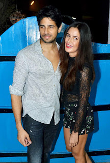 Katrina Kaif in Shorts and Trans parent Top with Sidharth Malra