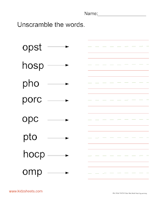 Kidz Worksheets Unscramble Words