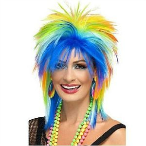 80s Neon Rainbow Wig for Ladies