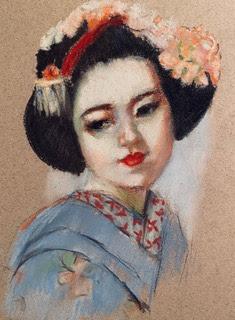 portrait drawing blue kimono geisha pastel pencil