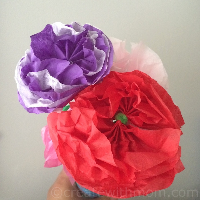 Create with mom tissue paper flowers then twist the pipe cleaner ends together and insert the pipe cleaner into the straw tissue paper flowers mightylinksfo Gallery