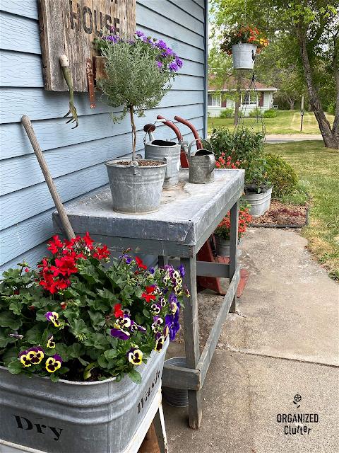 Photo of a junk garden vignette on the patio