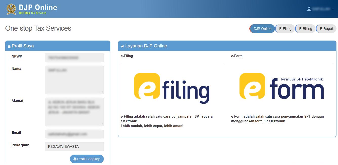 DJP Online - EFIN, Bagaimana Cara Daftar, dan Lapor SPT ...