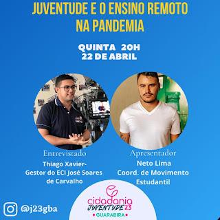 Juventude do Cidadania de Guarabira J23 inicia nesta quinta-feira 23 Lives semanal