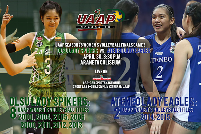 Ateneo vs. La Salle Season 78 volleyball finals Game 3