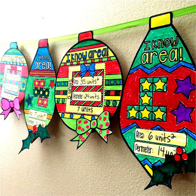 area and perimeter math pennant ornaments for Christmas and winter holidays