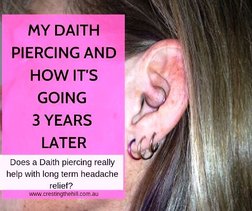 There's no scientific proof that a daith piercing works to relieve migraines and chronic headache. I've had mine for three years and this is how mine has impacted on my headaches. #daith #piercing #headaches #migraines