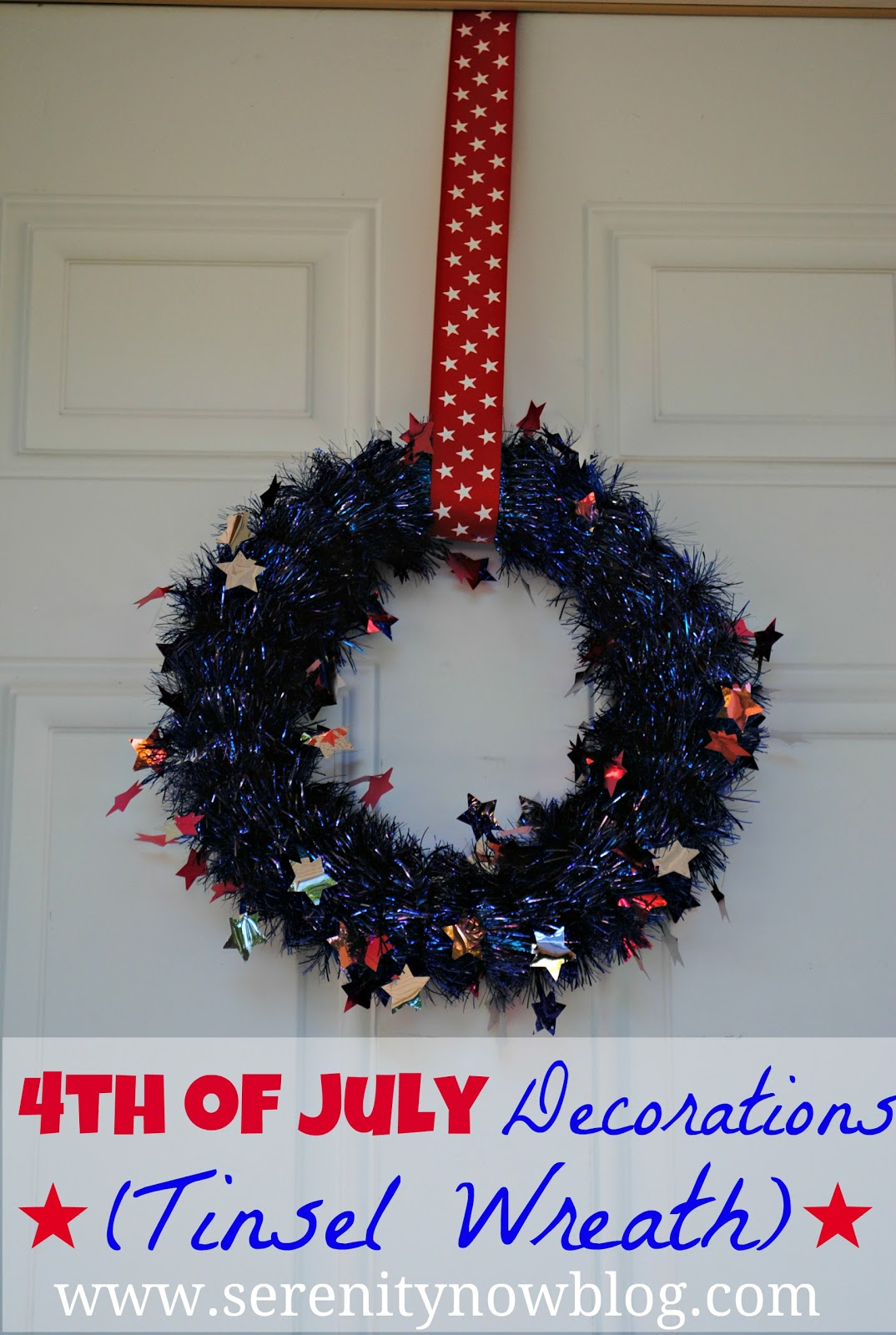 Serenity Now 4th Of July Tinsel Wreath Last Minute Decorations