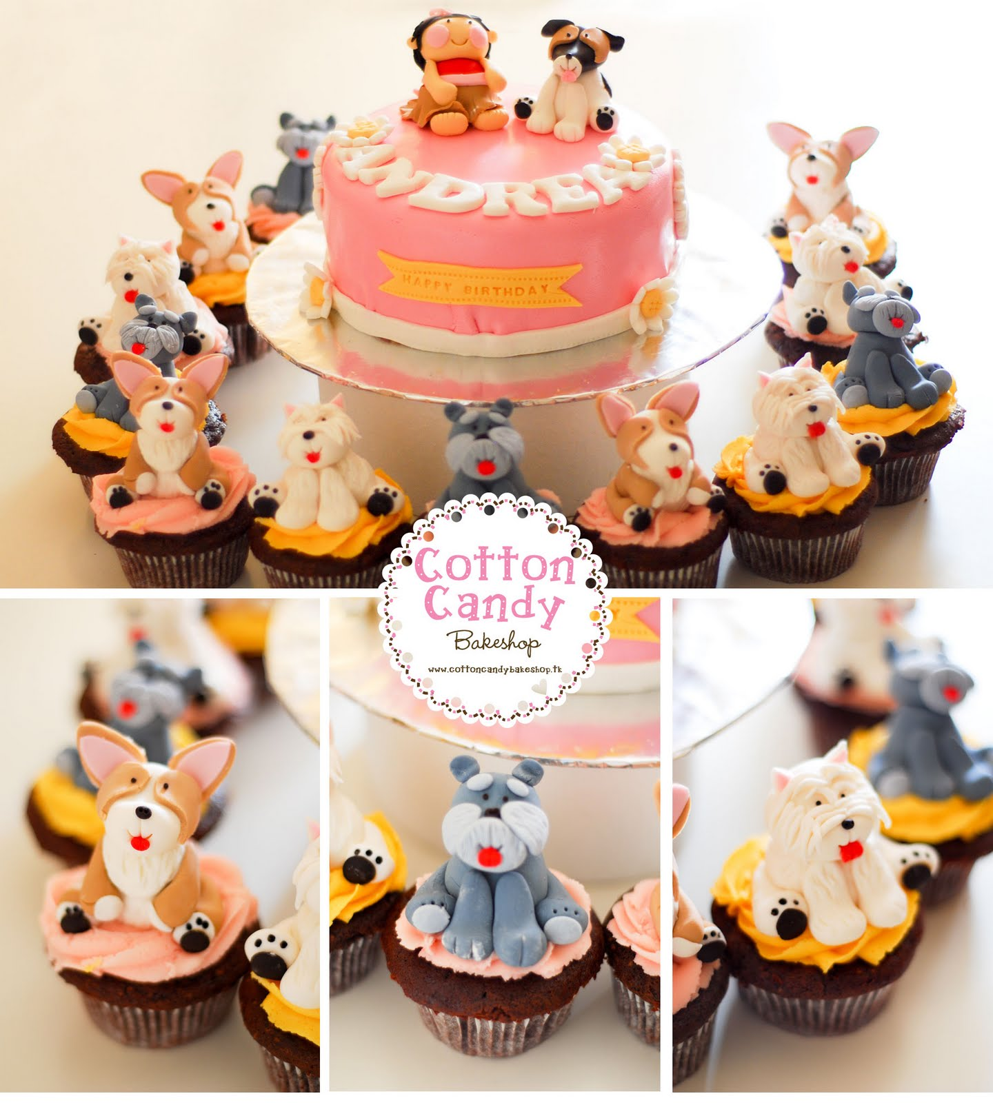 Cotton Candy Bakeshop Doggy Theme First Birthday Cake