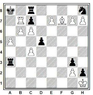 Estudio artístico de ajedrez compuesto por V. A. Bron (1º Premio, Magiar Sakkelet 1948)