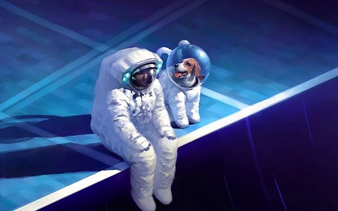 Astronauta com Seu Amigo Cão