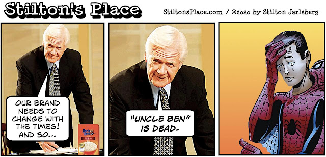 stilton's place, stilton, political, humor, conservative, cartoons, jokes, hope n' change, uncle ben, uncle ben's rice, spiderman
