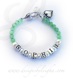 Sophie with Pearls and Green Cat's Eye Beads, a Beaded Heart Charm and a Heart Extension Clasp