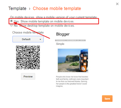 Aktifkan Mobile Template Blogger