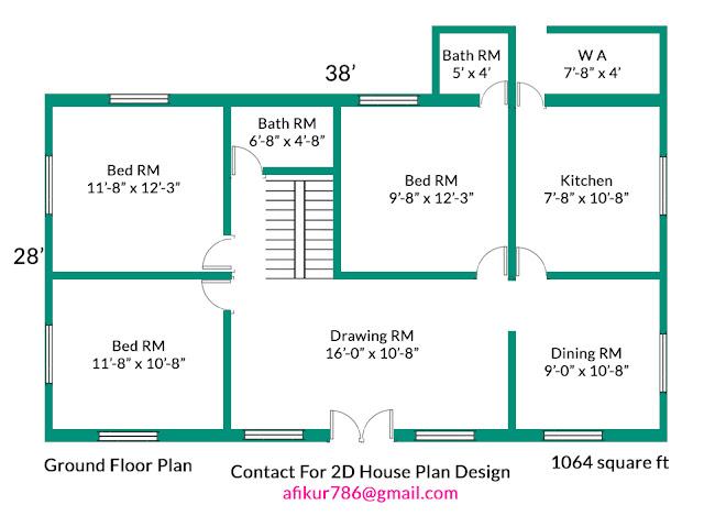 3bhk modern house plan design