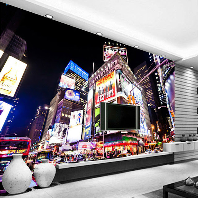 new york tapet times square fototapet vardagsrum stad natt