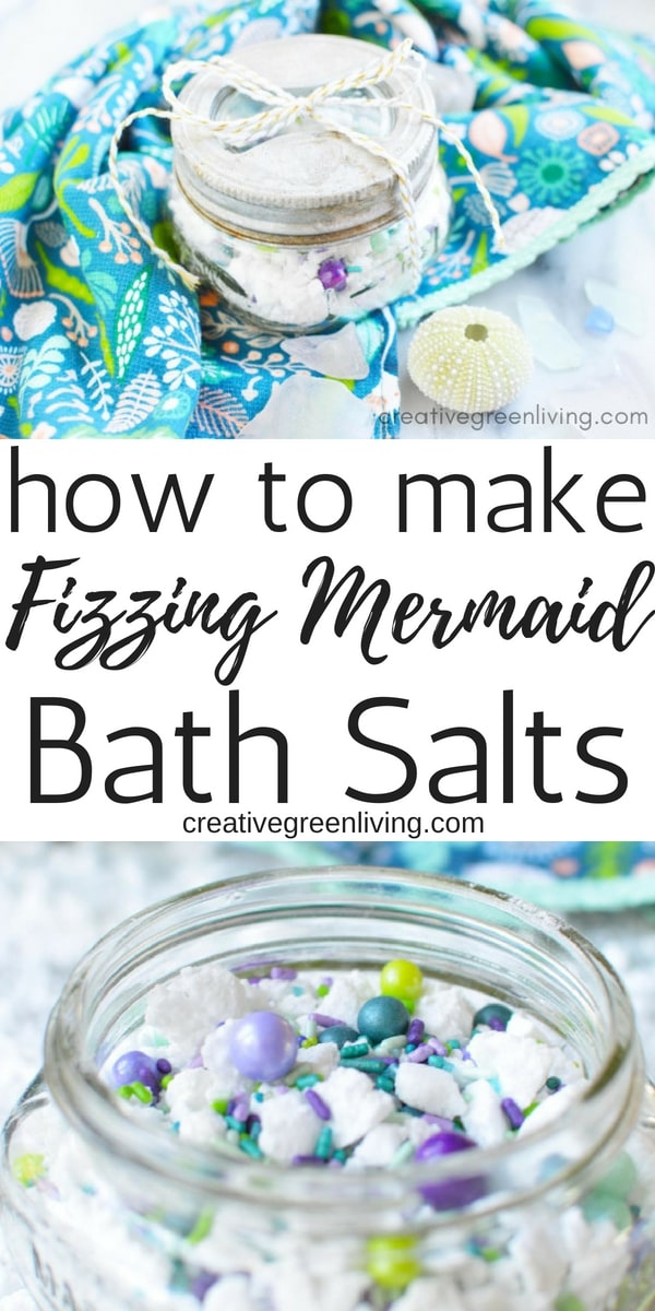 How to make fizzing mermaid bath salts. Easy fizzing and foaming bath salts with sprinkles that you make at home.