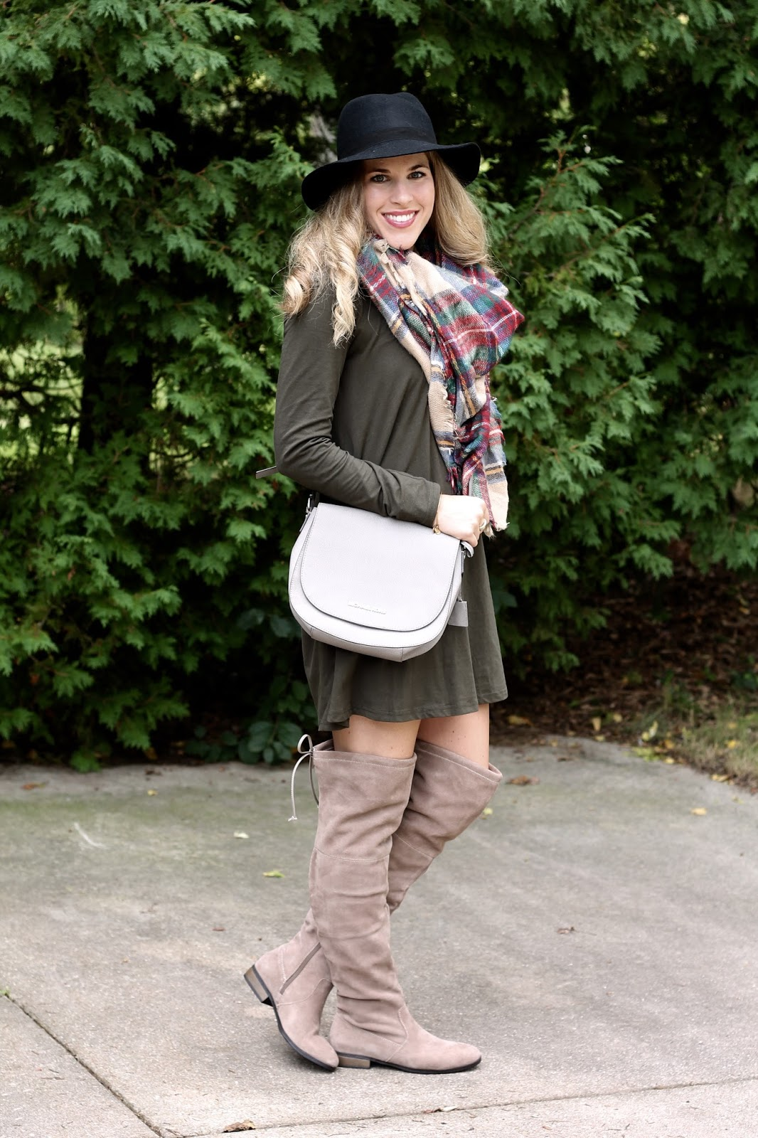 olive dress, OTK boots, blanket scarf, Michael Kors grey saddlebag, black wide brim felt hat