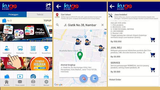 cara mencari tekniksi untuk Ninmedia di aplikasi Kugo