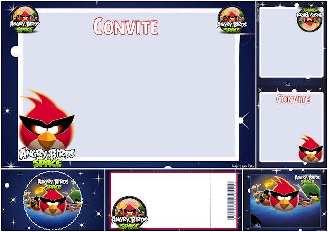 Angry Birds en el Espacio: Invitaciones para Imprimir Gratis.