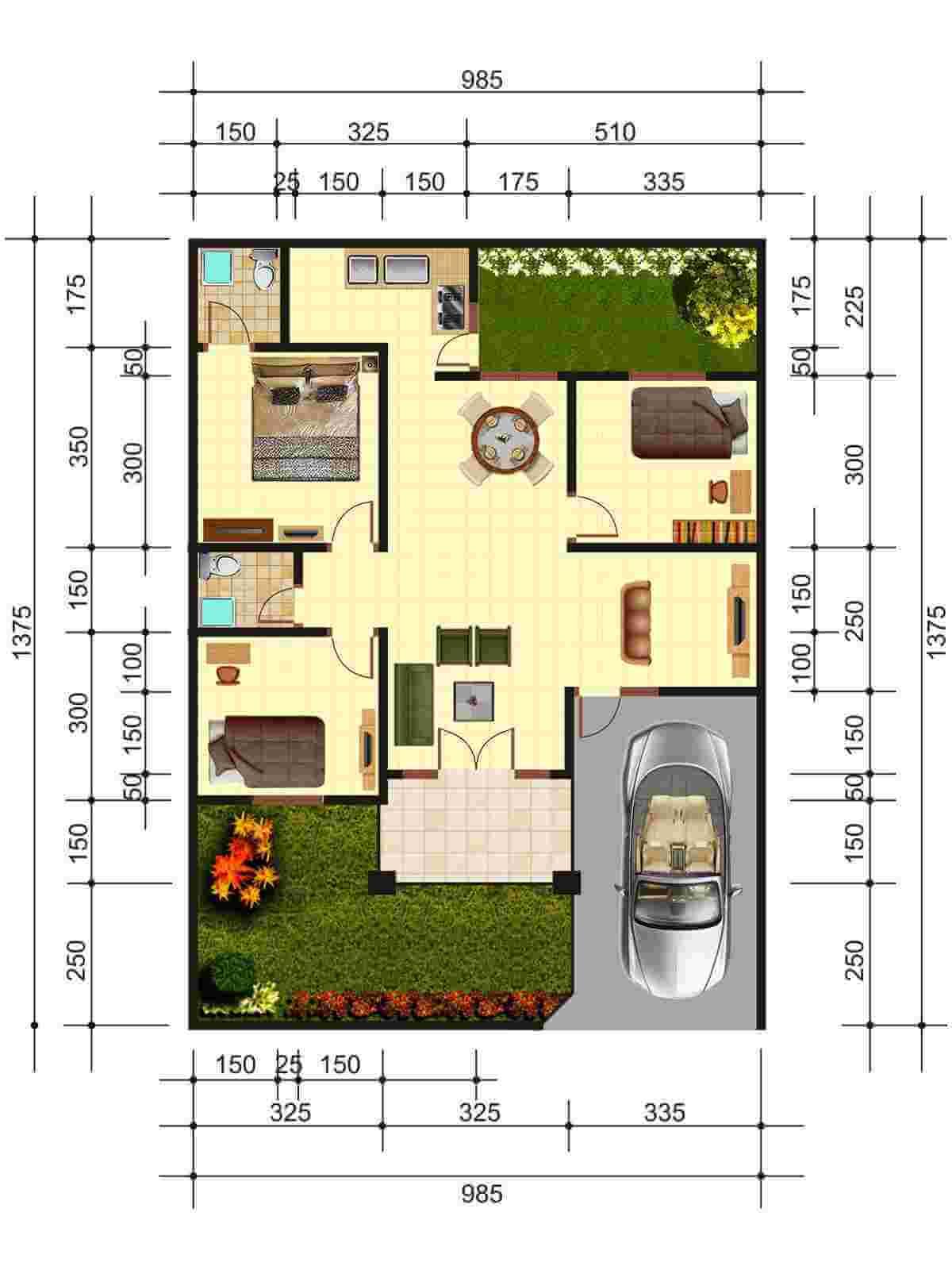 Contoh Desain Rumah Memanjang Ke Belakang dengan Detail Ukuran Rumah yang Jelas dan Rinci