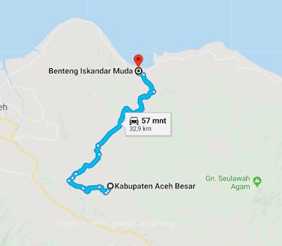 Lokasi benteng iskandar muda dari Kabupaten aceh