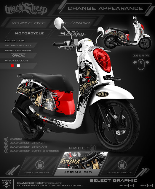 scoopy jerinx cutting sticker 3d (white edition)