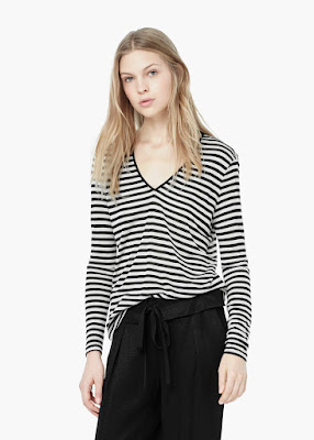 Mango Striped Modal Blend T-Shirt