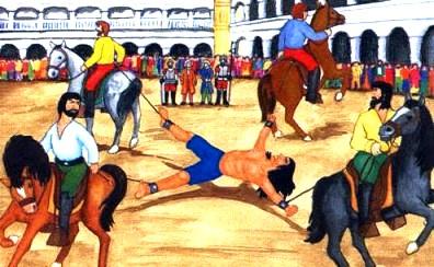 Ilustración de Túpac Amaru II siendo jalado por caballos a color