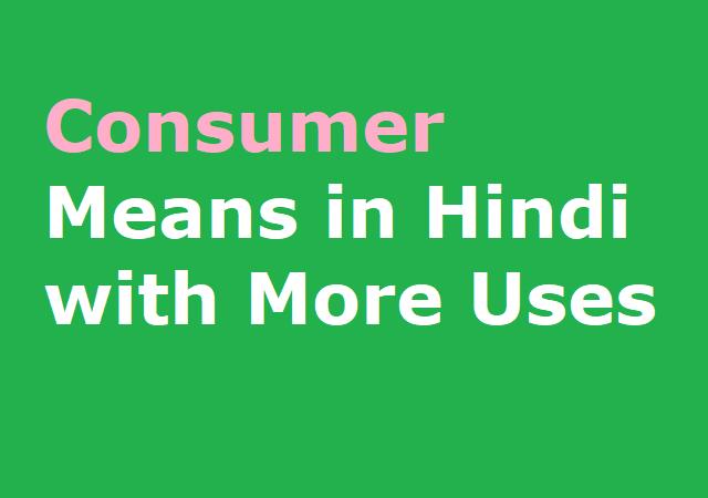 Consumer Means in Hindi with More Uses - कांसुमर का हिंदी मीनिंग