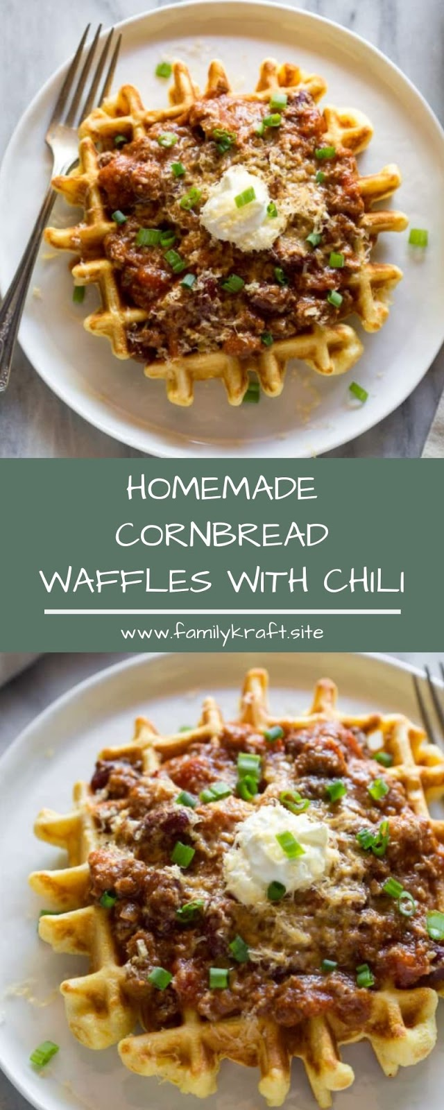 HOMEMADE CORNBREAD WAFFLES WITH CHILI