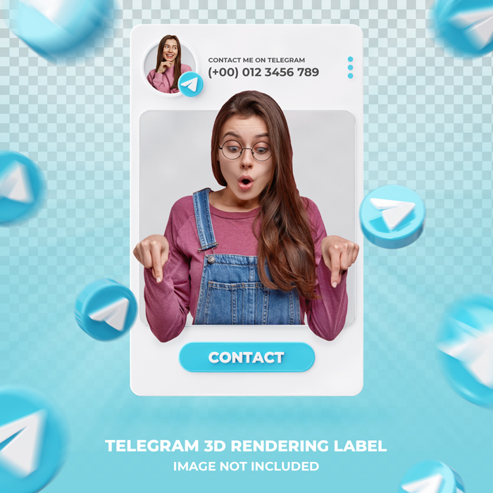 Banner Icon PSD Profile Telegram 3D Rendering Label Template