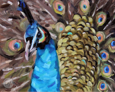 Percy-peacock-painting-Merrill-Weber