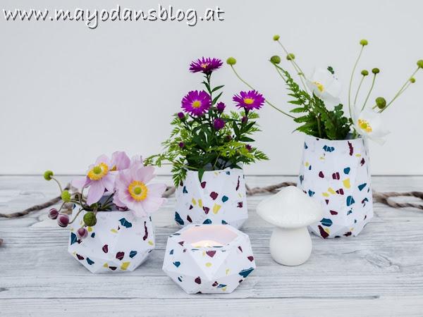 DIY Blumenvasen aus selbstgemachtem Terrazzo-Papier