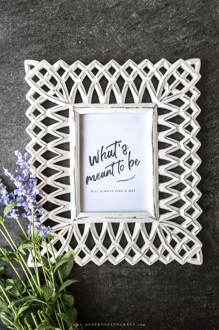 Black and white quote in frame