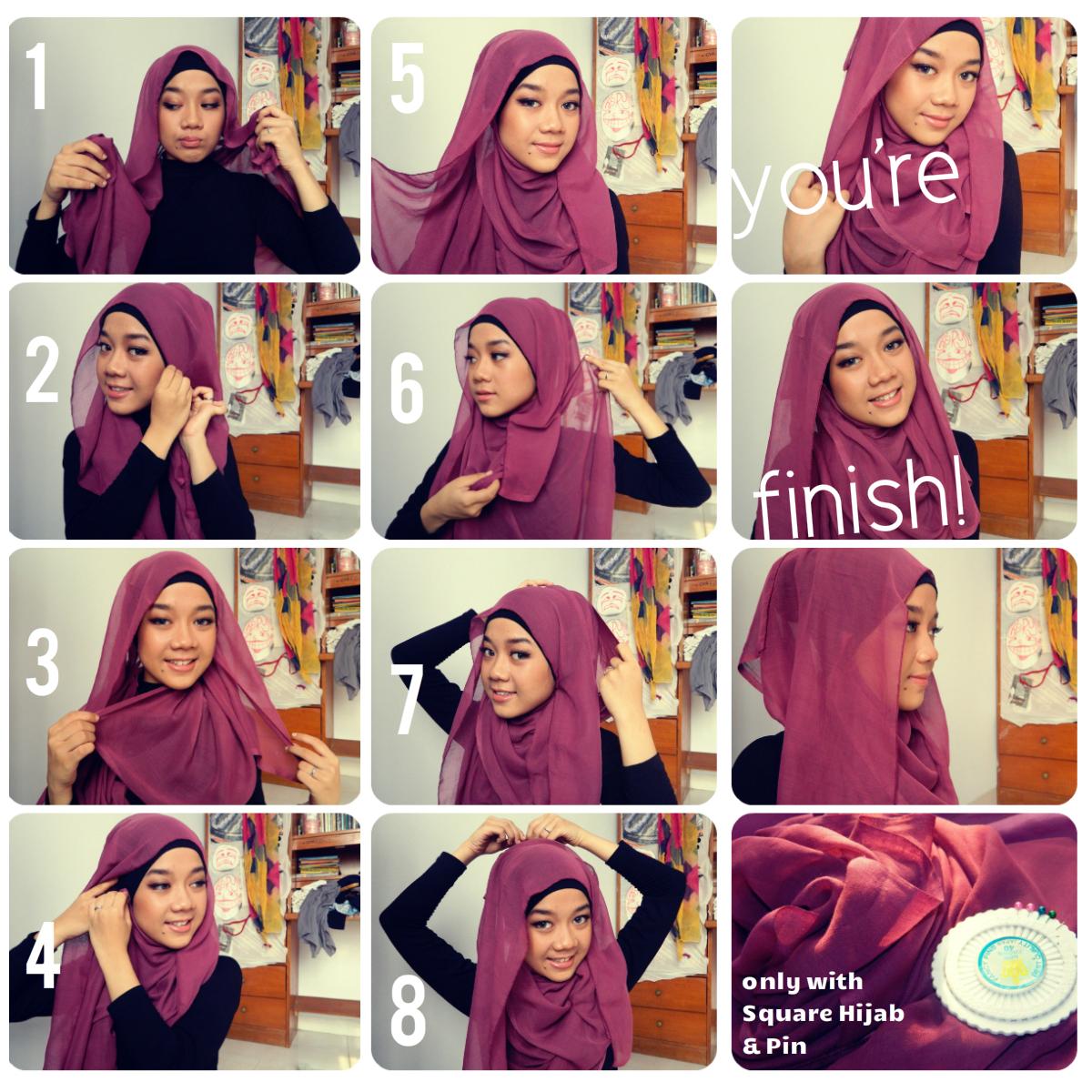 Gambar Cara Memakai Jilbab Lengkap 2013