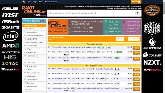 Website simulasi rakit PC - rakitonline.com