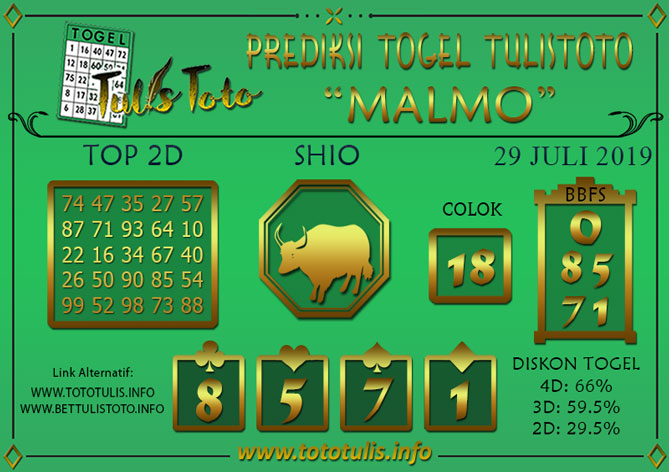 Prediksi Togel MALMO TULISTOTO 29 JULI 2019