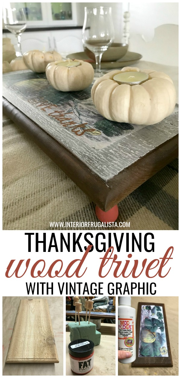 Thanksgiving Wood Trivet With Vintage Graphic