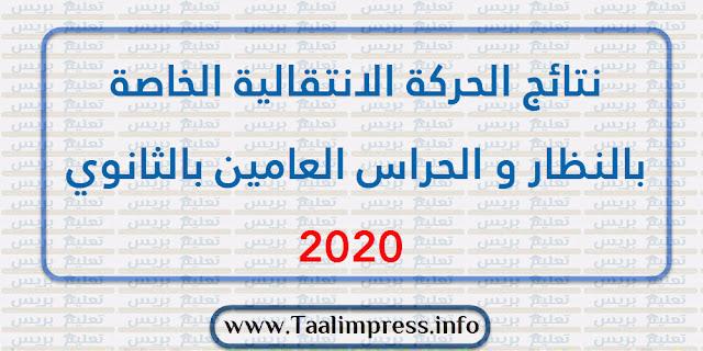نتائج الحركة الانتقالية الخاصة بالنظار و الحراس العامين بالثانوي 2020