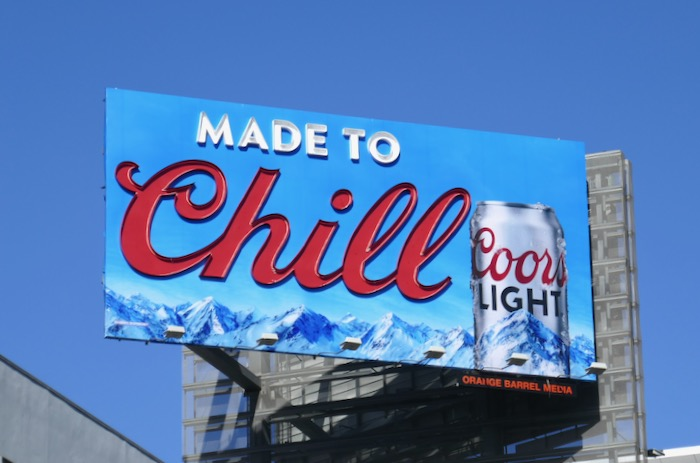Made to Chill Coors Light neon sign billboard