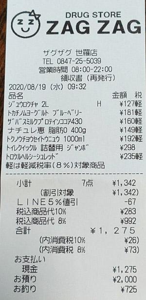ザグザグ 世羅店 2020/8/19 のレシート