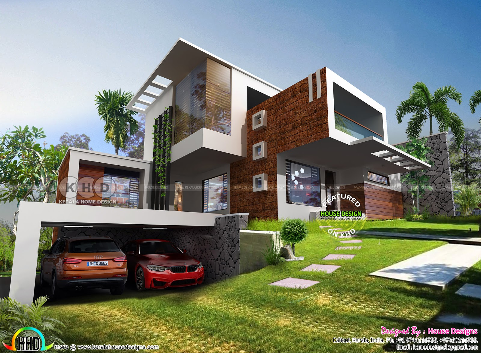 Outstanding contemporary style 4 bedroom home design kerala home design and floor plans - Outstanding modern houses ...
