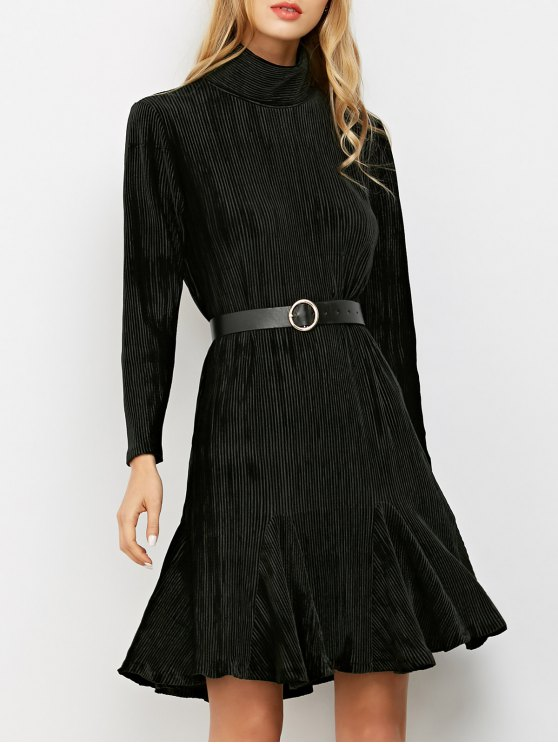 Ribbed Mock Neck Long Sleeve Ruffle Dress