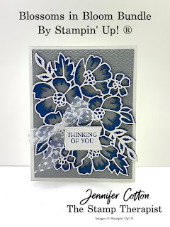 This Thinking of You card uses Stampin' Up!'s Blossoms in Bloom Bundle, Tasteful Textile embossing folder, and Tasteful Touches Bundle.  Click the pic for more info!  #StampinUp #StampTherapist