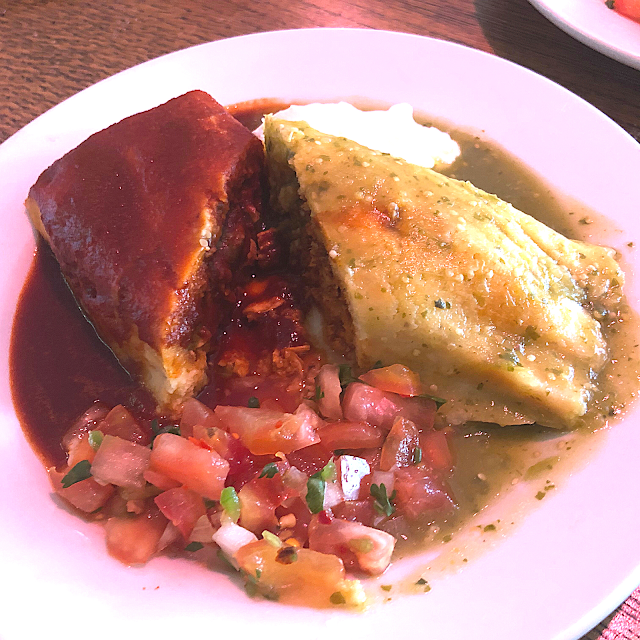 Tamales' Chicken Tamale with both Roasted Tomatillo and Guajillo Chile Sauces makes for quite a duo!