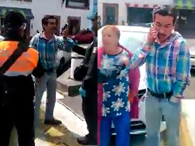 """VIDEO.- """"Soy hijo de la mano derecha del presidente de la república"""" dice para evitar ser multado en Santiago Tianguistenco. """"Ya cállate"""", le pide su madre"""