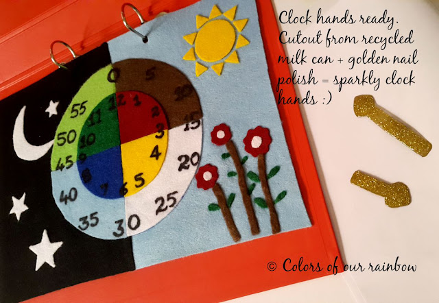 LEARNING TIME: No-sew Activity page with free printable @http://colorsofourrainbow.blogspot.ae/