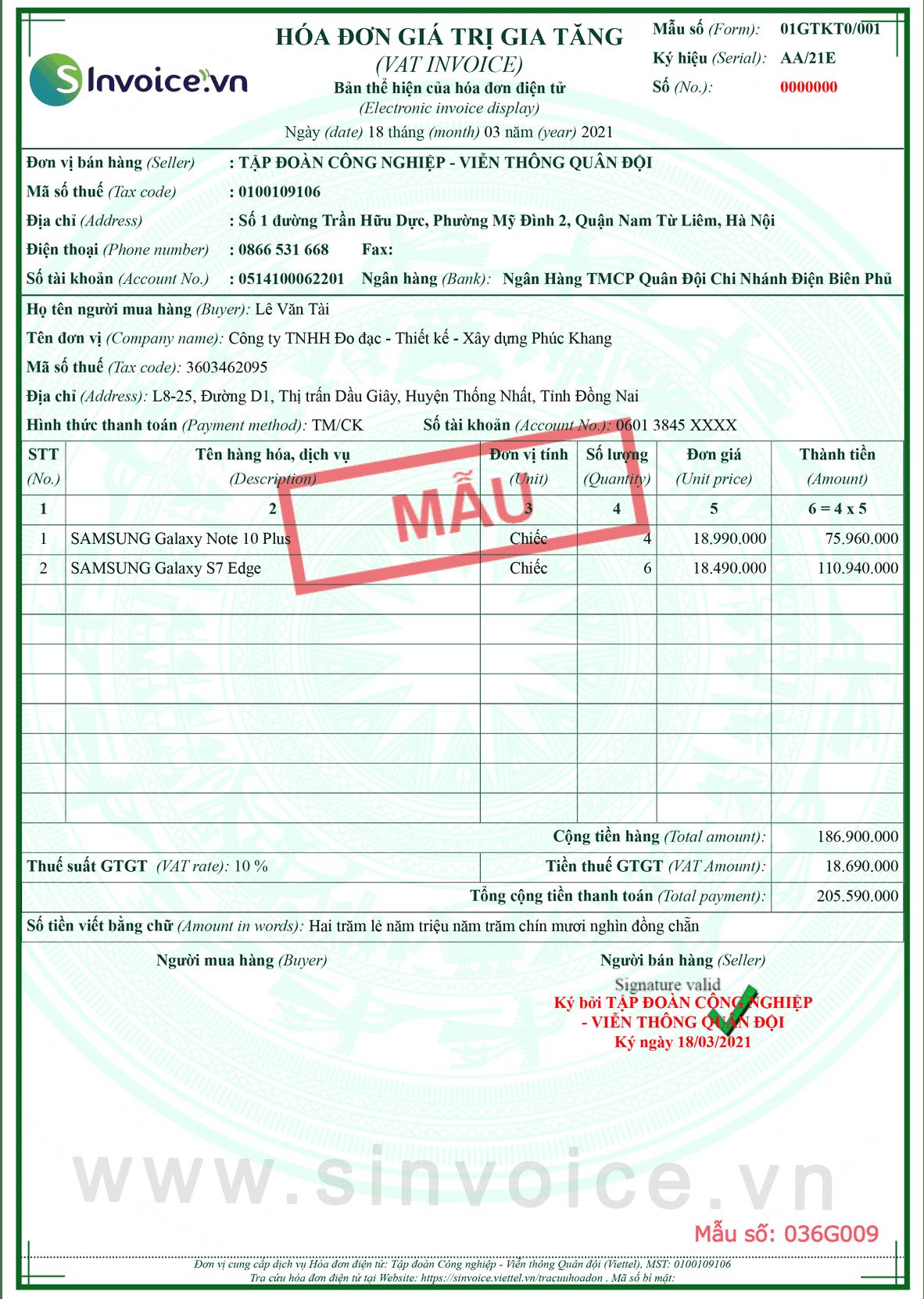Mẫu hóa đơn điện tử số 036G009